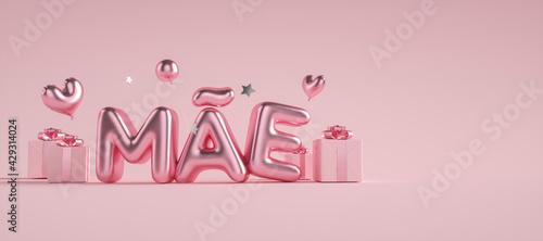 Dia das  mães 3d com caixas de presentes com escrita rosa  - fototapety na wymiar