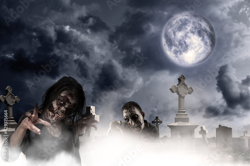 Fotografie, Obraz Scary zombies at misty cemetery under full moon