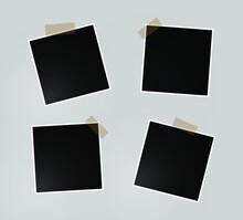 Set Photo Frame Design Sticky Tape Isolated Transparent_3