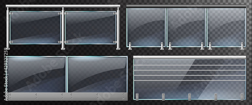Realistic glass fences. Home stairway or balcony glass balustrade with steel railings vector illustration. Glass balustrade with metal pillars - fototapety na wymiar