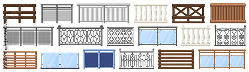 Balcony railing. Metal, wooden and stone decorative balcony fences, terrace fencing isolated vector illustration set. Home facade balcony elements - fototapety na wymiar