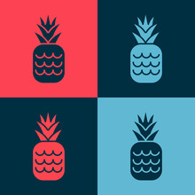 Pop Art Pineapple Tropical Fruit Icon Isolated On Color Background. Vector