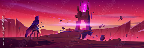 Fototapeta Wizard walk to magic portal in stone frame on mountain landscape at sunrise