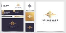 Bridge Logo With Creative Golden Concept And Business Card Design Premium Vector