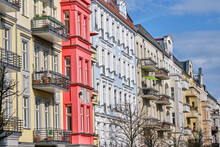The Facades Of Some Renovated Old Apartment Buildings Seen In Prenzlauer Berg, Berlin