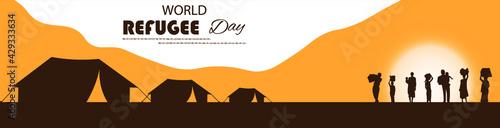 Fotografie, Obraz World Refugee day vector illustration.