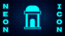 Glowing Neon Old Crypt Icon Isolated On Brick Wall Background. Cemetery Symbol. Ossuary Or Crypt For Burial Of Deceased. Vector