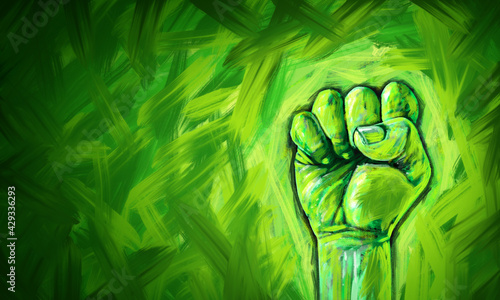 Canvas-taulu Ecological justice abstract concept as a fist painted in diverse green colors fi