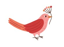 Cute Pink Bird Holding Branch With Red Winter Berries Isolated On White Background. Beautiful Birdie Standing With Sprig Of Pretty Plant. Colored Flat Vector Illustration