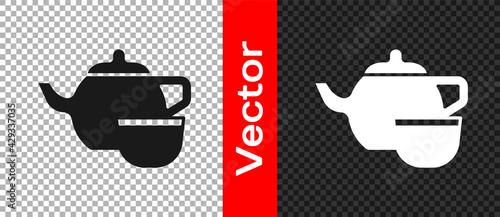 Foto Black Traditional Chinese tea ceremony icon isolated on transparent background