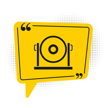 Black Gong Musical Percussion Instrument Circular Metal Disc Icon Isolated On White Background. Yellow Speech Bubble Symbol. Vector