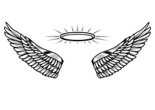 Angels Wings With Nimbus. Design Element For Poster, Card, Banner, T Shirt. Vector Illustration