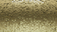 3D, Gold Mosaic Tiles Arranged In The Shape Of A Wall. Polished, Hexagonal, Bullion Stacked To Create A Glossy Block Background. 3D Render