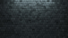 Square, Futuristic Wall Background With Tiles. Polished, Tile Wallpaper With 3D, Concrete Blocks. 3D Render