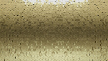 Gold, Polished Mosaic Tiles Arranged In The Shape Of A Wall. 3D, Diamond Shaped, Bullion Stacked To Create A Glossy Block Background. 3D Render