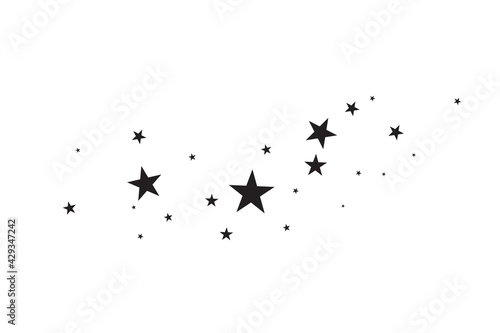 Stars on a white background. Black star shooting with an elegant star.Meteoroid, comet, asteroid, stars. - fototapety na wymiar