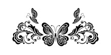 Decorative Floral Ornament With Butterfly, Element For Design. Good For Logos, Prints And Postcards. Vector Illustration