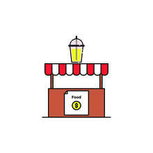 Soft Drink Booth Illustration. Modern Simple Vector Icon, Flat Graphic Symbol In Trendy Flat Design Style. Wallpaper. Lockscreen. Pattern. Frame, Background, Backdrop, Sign, Logo.