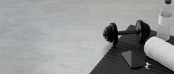 3D rendering, dumbbells on the floor in concept fitness room with water bottle and training equipments