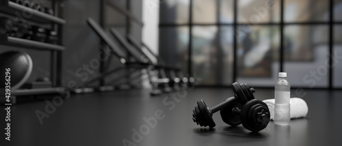 Obraz 3D rendering, dumbbells on the floor in concept fitness room with training equipments in the back - fototapety do salonu