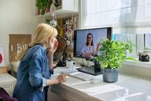 Teen Girl Talking Online With Psychologist, Social Worker