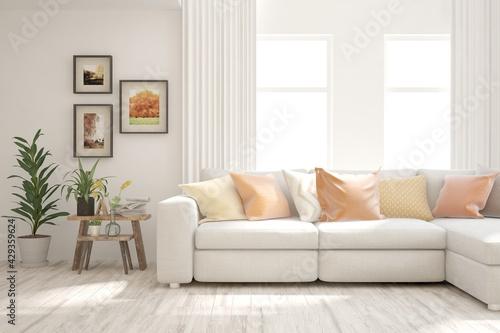 Soft color living room with sofa. Scandinavian interior design. 3D illustration