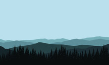 Great Morning Mountain Panorama With The Surrounding Pine Tree Silhouettes. Vector Illustration