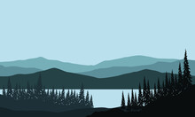 Beautiful Mountain View From The Riverbank With The Silhouette Of Pine Trees Around It In The Morning. Vector Illustration