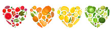 Vector Concept Of Colorful Fruit, Vegetables, Eat Colors For Health