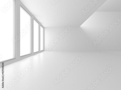 Illuminated corridor interior design. Empty Room Interior Background - fototapety na wymiar