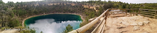 panoramic photograph of the geological streams with water, called lagunas, in the province of Cuenca, Castilla La Mancha, Spain,