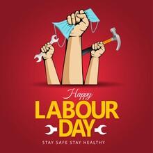 Happy Labor Day On 1 May. Coronavirus, Covid-19 Concept. Vector Illustration Design.