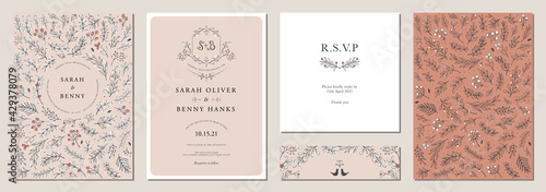 Fotografie, Obraz Set of floral universal artistic templates