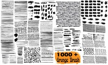 Mega Bundle Of Different Ink Brush Strokes. Brush Strokes Bundle. Vector Paintbrush Set. Circle Frames. Round Grunge Design Elements. Rectangle, Square And Burst Text Boxes.