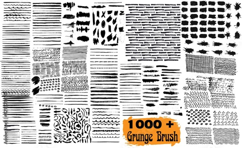 Photo Mega bundle of different ink brush strokes