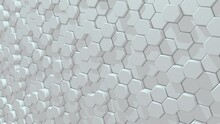 White Hexagon Technology Background. Abstract Surface Design. 3D Rendering