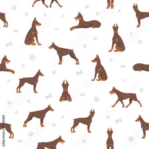Foto Doberman pinscher dogs seamless pattern