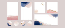 Instagram Social Media Highlights, Story Post Feed Background Template. Vector Watercolor Navy Pink Gold Layouts With Copy Space For Text For Banner. Abstract, Luxury Texture For Beauty, Fashion