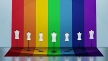 虹色の壁の前に立つ男女のトルソーマネキン 3DCGポスター カラフル