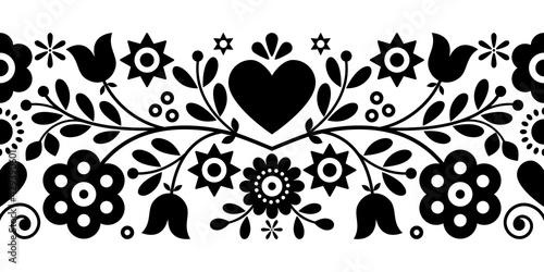 Retro Polish floral folk art vector greeting card or seamless black pattern inspired by old highlanders embroidery Lachy Sadeckie from Nowy Sacz in Poland  	 - fototapety na wymiar