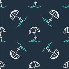 Line Sun Protective Umbrella For Beach Icon Isolated Seamless Pattern On Black Background. Large Parasol For Outdoor Space. Beach Umbrella. Vector