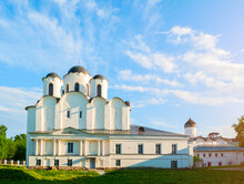 St Nicholas Cathedral, Medieval Church In The Yaroslav's Courtyard In Veliky Novgorod, Russia, Sunset Summer View