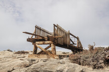 Destroyed Wooden Bridge On The Ocean Near The City Of Luderitz Namibia