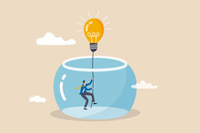 Innovation To Solve Business Problem, Idea And Creativity To Achieve Business Success Concept, Businessman Climbing The Rope From Light Bulb Idea To Escape Prison Fish Bowl.