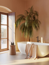 3d Rendering Of A Minimal Mediterranean Relaxed Bathroom With Earthy Tones And A Bathtub With A Palm Plant And A View To The Sea
