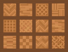 Parquet Floor Samples. Chart With Common Parquetry Patterns, Most Familiar Models And Types, Twelve Wooden Floor Plates. Vector Illustration.