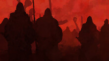 The Vikings Landed On The Shore With Shields, Spears And Axes, Ready For Battle. In The Background There Is A Bloody Sky. 2D Illustration