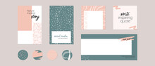 Instagram Social Media Story Post Feed, Highlight Template With Space Text. Minimal Abstract Hand Drawn Organic Shape Background Layout Mockup In Pastel Pink Green Color For Beauty, Spa, Fashion, Food
