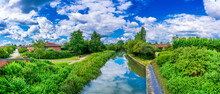 Panorama Of Grand Union Water Canal In Milton Keynes.England
