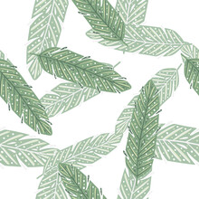 Isolated Seamless Pattern With Doodle Green Feather Random Print. White Background. Simple Style.